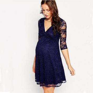 Green Home Sexy Lace Maternity clothing Deep V-Neck Two Layers Maternity Dress for Pregnancy Summer Breastfeeding Dress
