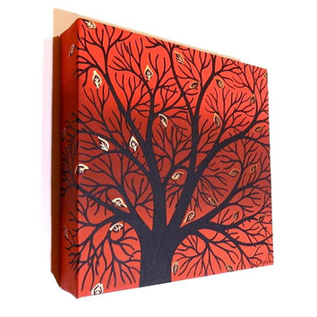 Abstract Autumn Tree Art - acrylic painting of black silhouetted branches against a red autumn background