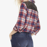 SEQUIN YOKE RED PLAID BOYFRIEND SHIRT from EXPRESS