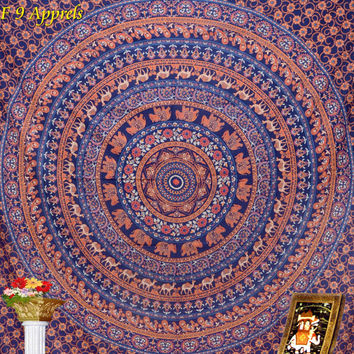 "Blue Elephant Mandala  tapestry Indian Hippie Hippy Wall Hanging Wall Decor Bed Spread Wall art,Beach Coverlet Throw, Curtain 92"" x85"""