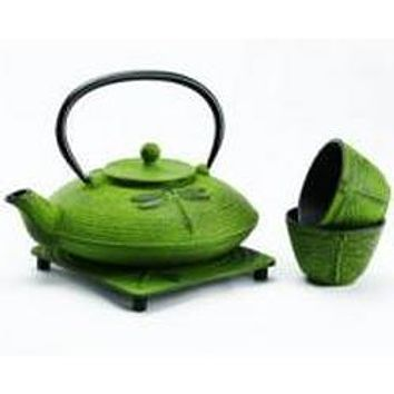 Japanese Cast Iron Teapot Set with matching tea cups and trivet