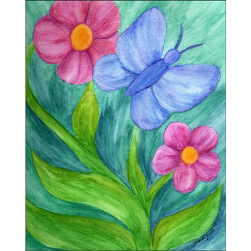 Transformation and Growth - Giclee Print of Butterfly and Flower Watercolor Pencil Fine Art