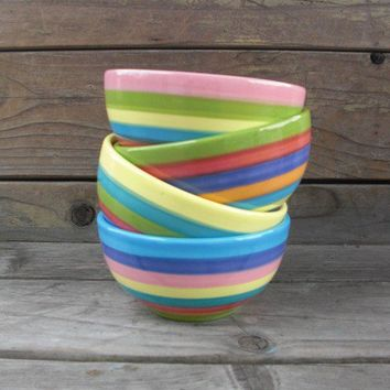 Set of Four Rainbow Candy Colored Striped Ceramic Ice by InAGlaze