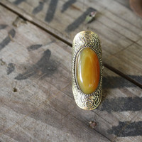 Tribal Citrine Stone Ring