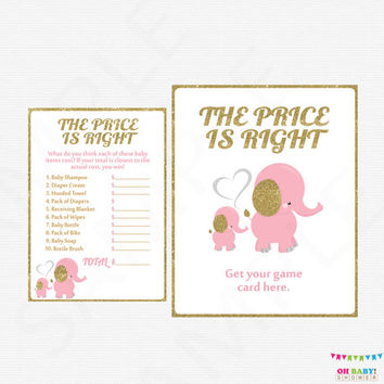 Pink and Gold Elephant Baby Shower Games, Price is Right Baby Shower Game AND Sign, Printable Baby Shower Girl INSTANT DOWNLOAD EL0004-lpg