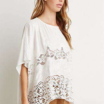 Crochet-Paneled Oversized Top | Forever 21 - 2000173784