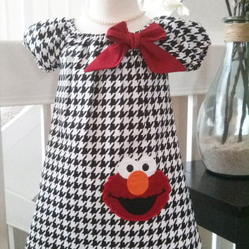Sesame Street Elmo Dress - Elmo Birthday Dress - Houndstooth Dress - Boutique Style Dress - Elmo Outfit - Elmo toddler Dress - 12M-5T