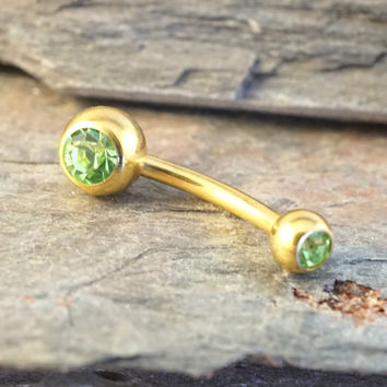 Simple Gold Light Green Peridot Belly Button Ring Jewelry