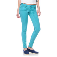 Empyre Girls Logan Teal Sunfade Twill Skinny Jeggings at Zumiez : PDP