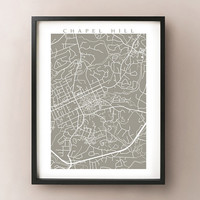 Chapel Hill, NC map art print