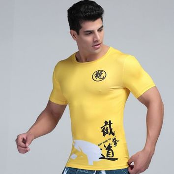 New Bruce Lee Style Compression Tights Short Sleeve Shirts Fitness Tights Base Layer Nunchakus Top Clothing