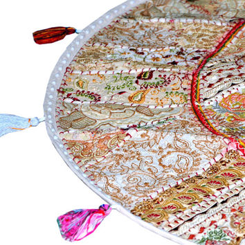 "17"" Patchwork Round Floor Pillow Cushion round embroidered Bohemian Patchwork floor cushion pouf Vintage Indian Foot Stool Bean Bag tapestry"
