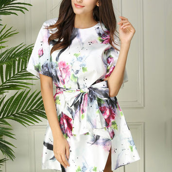 Ink Print Silk Short Sleeve Bowknot Belted A-Line Mini Dress