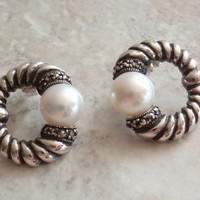 Pearl Earrings Sterling Silver Marcasites Pierced Post Ribbed Ridges Vintage V0555