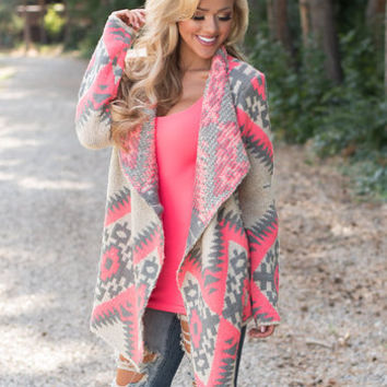 Delighted Pink Aztec Sweater