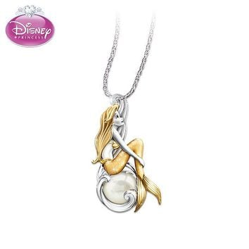 Necklace: Disney Waves Of Wonder Little Mermaid Genuine Cultured Pearl Pendant Necklace