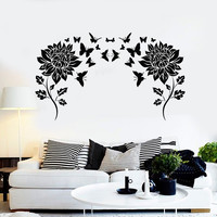 Vinyl Wall Decal Flowers Butterflies Home Room Decor Stickers Unique Gift (ig4630)