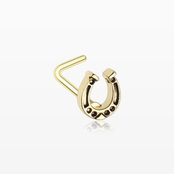 Golden Lucky Horseshoe L-Shaped Nose Ring