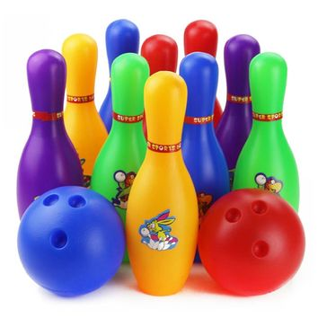 12PCS Colorful Cartoon Bowling Indoor Outdoor Toy Kids Ball Set Fun Development Desk Game Educational Toys for Children Gift