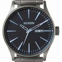Nixon 'Sentry' Bracelet Watch, 42mm - Gunmetal/ Blue
