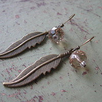 Bronze boho feather earrings with champagne swarovski bead