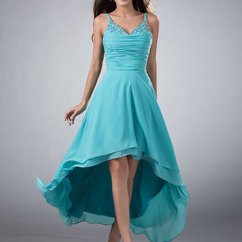 High Low Turquoise Chiffon Beach Bridesmaids Dresses With Spaghetti Straps Short Front Long Back Informal Wedding Party Dresses