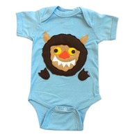 Where the Wild Things Are Baby Bodysuit Collection: Handmade Felt Appliqued Onesuits: Wild Thing