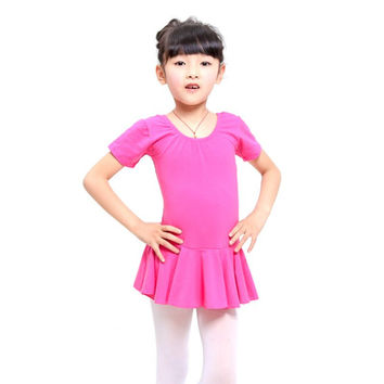 4-12Y Kid Girls Short Sleeve Leotard Gymnastics Ballet Dance Dress Dancewear