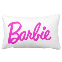 White and Pink Barbie Fashion Chic Decor Pillow