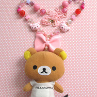 Japan Harajuku Style Kawaii Rilakkuma bear Coffee Cafe Barista Huge Pink ribbon Plush Chunky pendant Pink chain Long necklace