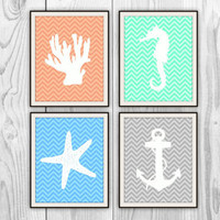 Seaside Chevron Quad - Set of 4 8x10 Ocean Prints - Natical Home Decor - Bathroom, Bedroom, Beach House - more colors and sizes