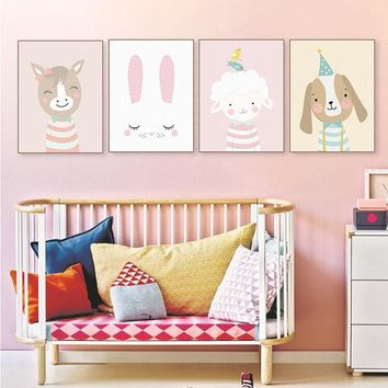 Cute Cartoon Cat Deer Bear Dog Poster Nordic Wall Art Print Picture Canvas Painting Kawaii Baby Kids Room Home Decor No Frame