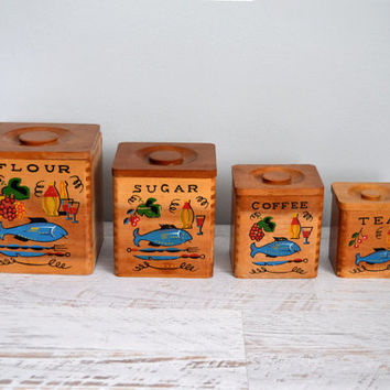 Vintage Wooden Canister Set, Scandinavian Modern Design, Flour, Sugar, Coffee, Tea Boxes, Kitchen Containers, Mid Century