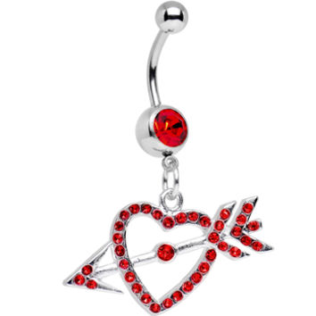 Red Gem Cupid's Arrow Hits the Heart Dangle Belly Ring | Body Candy Body Jewelry