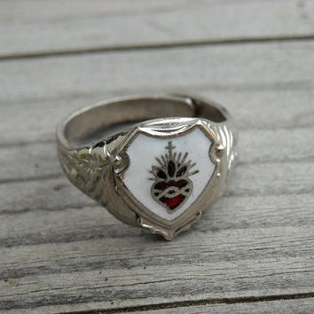 Vintage Red Sacred Heart Silver Ring Size 6 Vintage Religious Jewelry Gothic Goth Corazon Milagro Mexican Day of the Dead Dia de los Muertos
