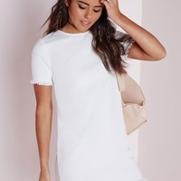 FRAYED EDGE DENIM SHIFT DRESS WHITE