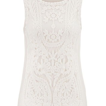 Embroidered Mesh Overlay Tank