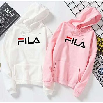 FILA Popular Women Men Comfortable Classic Letter Print Long Sleeve Hooded Cotton Sweater Pullover Top(4-Color) I13307-1