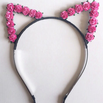 Pink Floral Cat Ears #E1010