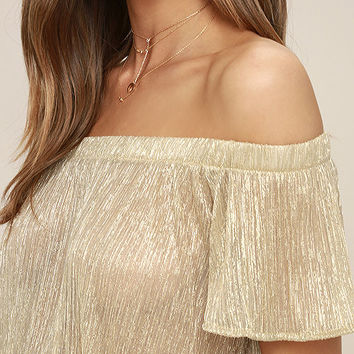 Stardom Gold Off-the-Shoulder Top