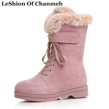 Real Fox Fur Lined Girls Lace Up Mid-calf Boots Warm Winter Thick Plush In Snow Boots Women Shoes Female Cow Suede Half Boots
