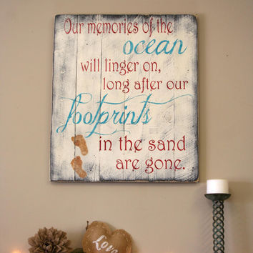 Our Memories Of The Ocean Pallet Sign Beach Sign Beach Pallet Distressed Wood Shabby Chic Handpainted Wood Beach House Vintage Decor