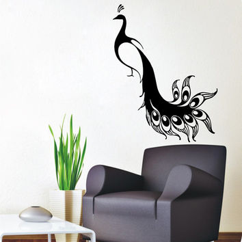 Peacock Wall Decals Bird Stickers Pets Birds Animals Vinyl Decal Sticker Living Room Decor Home Art Mural Kids Room Interior Design KG809