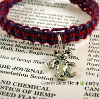 Dancing Bear Hemp Bracelet, Red Magenta Purple Hemp Bracelet, Hippie Bracelet, Dancing Bear Hemp Jewelry, Macrame Hemp Roach Clip Bracelet