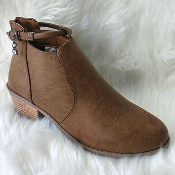 Women's Camel Short Boot with Charm Detail