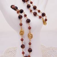 Gemstone necklace, Goldsand Necklace, Gold and Brown Necklace, Handmade Jewelry, UK seller