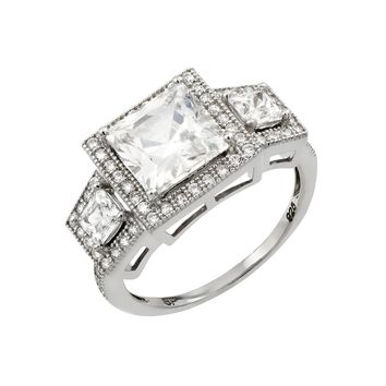 .925 Sterling Silver Rhodium Plated Micro Pave Cubic Zirconia Ring