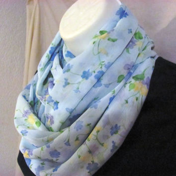Light Blue Floral Infinity Scarf by GBSCreations on Etsy