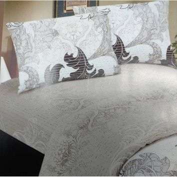 Elegant Jacquard Paisley Grey Floral Real Leaves Linen Fitted & Flat Sheets Set with Pillow Cases Sham Covers (FSFS8197)