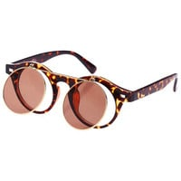 ROMWE | Double-layered Leopard Round Sunglasses, The Latest Street Fashion
